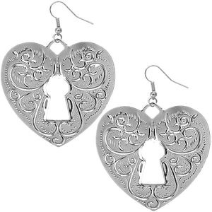Silver Swirl Heart Lock Dangle Earrings