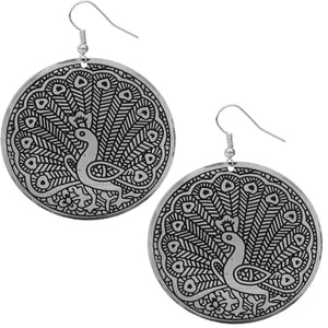 Silver Thin Round Peacock Earrings