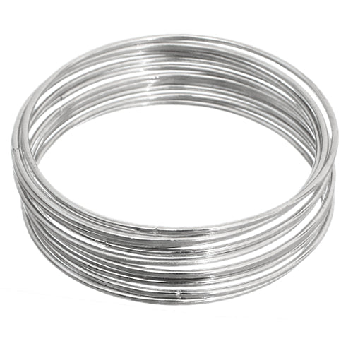 Silver Thin Multi Line Stacked Bangle Bracelet