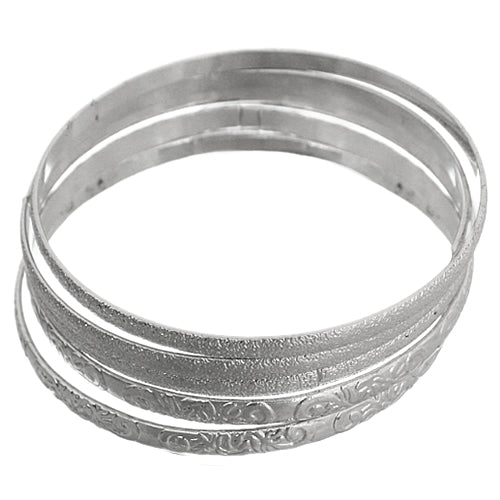 Silver Multi Line Frost Stacked Bangle Bracelet