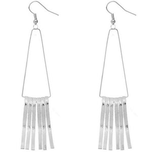 Silver Trapezoid Long Stick Earrings
