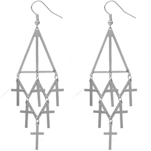 Silver Cross Tier Dangle Earrings