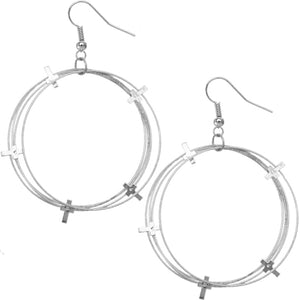 Silver Multi Layered Cross Hoop Earrings