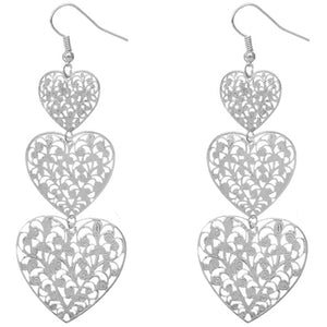 Silver Gradual triple Heart Earrings