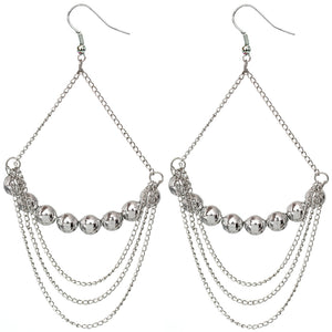 Silver Beaded Drop Chain Triangle Earrings