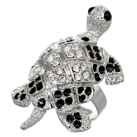 Silver Turtle Crawling Adjustable Ring