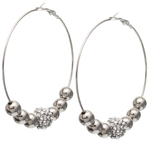 Silver Beaded Rhinestone Fireball Hoop Earrings