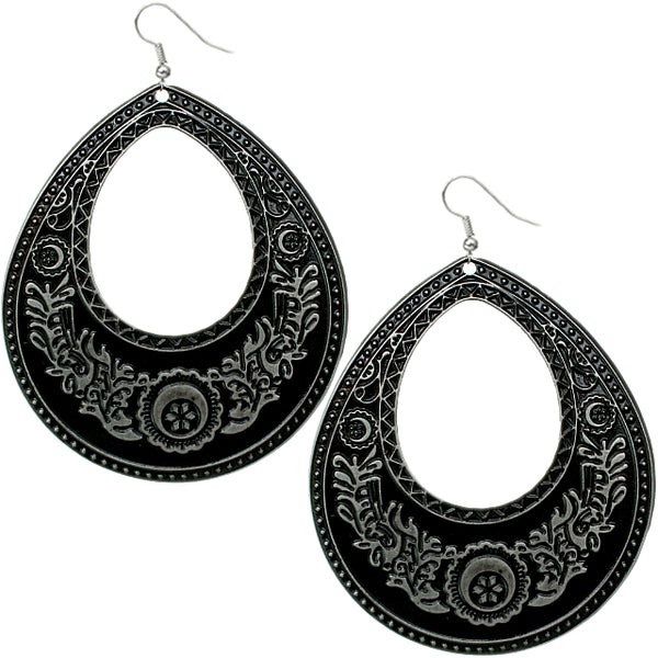 Silver Black Large Open Teardrop Earrings