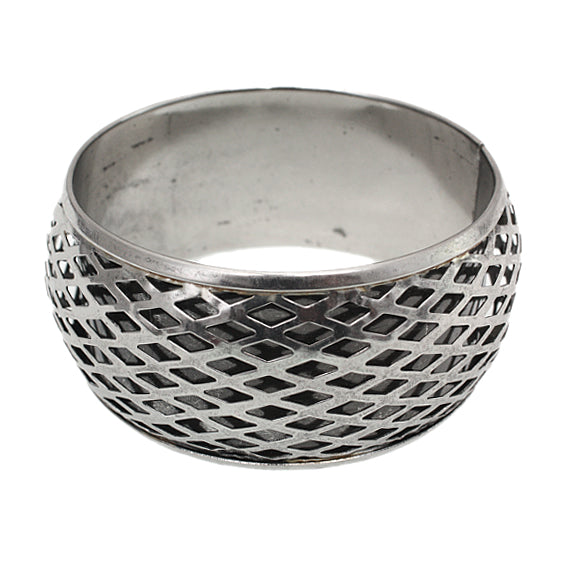 Silver Cutout Caged Bangle Bracelet
