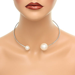 Silver Coil Faux Pearl Collar Choker Necklace