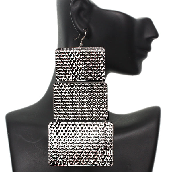 Silver Hammered Lightweight Dangle Link Earrings