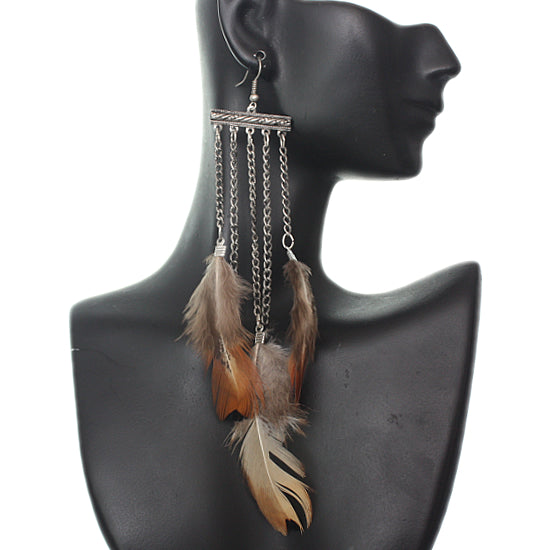 Silver Chain Feather Earrings