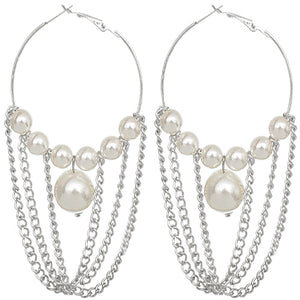 Silver Faux Peal Drop Chain Hoop Earrings