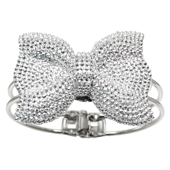 Silver Glitter Large Bow Hinged Bracelet