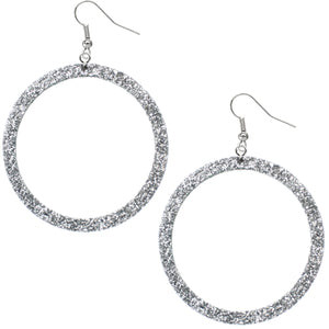 Silver Thin Glitter Hoop Earrings