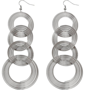Silver Spiral Circular Hoops Earrings
