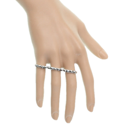 Silver Triple Love Heart Midi Knuckle Ring