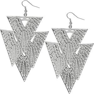 Silver Inverted Upside Down Hammered Earrings