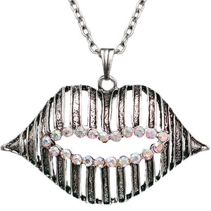 Colorful Iridescent Charm Lips Chain Necklace
