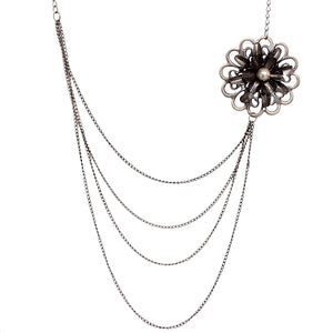 Silver Floral Layered Chain Necklace Set