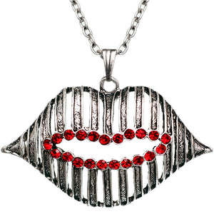 Red Silver Charm Lips Chain Necklace