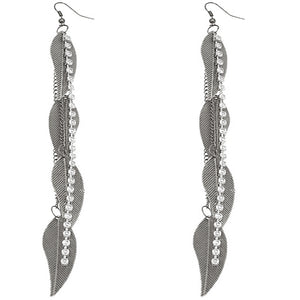 Silver Rhinestone Drop Chain Leaf Earrings