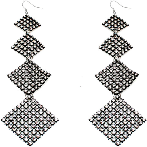 Black Clear Flat Rhinestone Extra Long Earrings