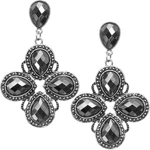 Silver Teardrop Gemstone Chandelier Earrings