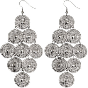 Silver Layered Disc Dangle Earrings