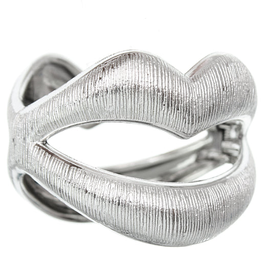 Silver Sexy Large Lips Hinged Bracelet