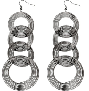Hematite Spiral Circular Hoops Earrings