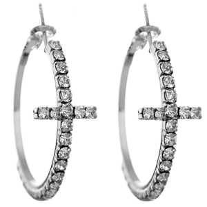 Silver Studded Gemstone Cross Hoop Earrings