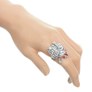 Red Silver Studded Rhinestone Ladybug Adjustable Ring