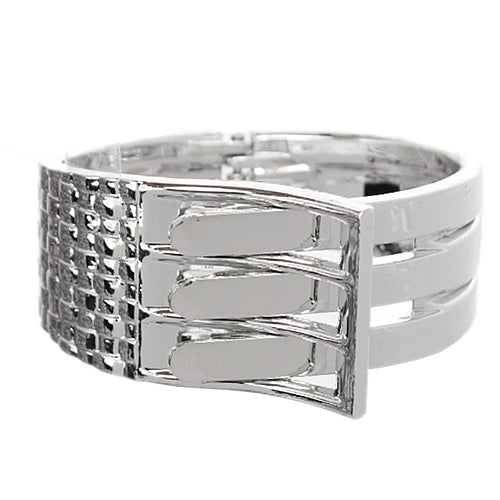 Silver Belt Buckle Hinged Bracelet