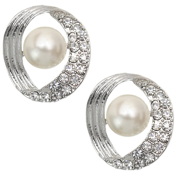 Silver Rhinestone Faux Pearl Post Earrings