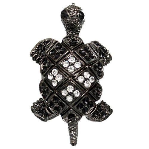 Steel Gray Crawling Turtle Adjustable Ring