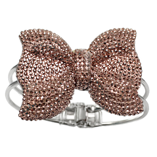 Brown Glitter Large Bow Hinged Bracelet