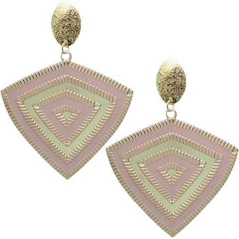 Taupe Inverted Triangle Frost Earrings