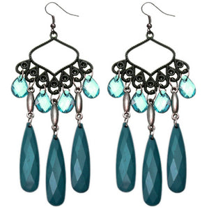 Teal Beaded Dangle Chandelier Earrings