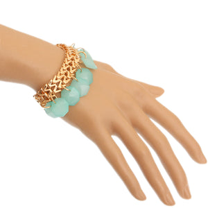 Teal Green Hanging Beaded Chain Bracelet