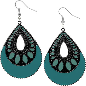 Teal Blue Open Teardrop Earrings