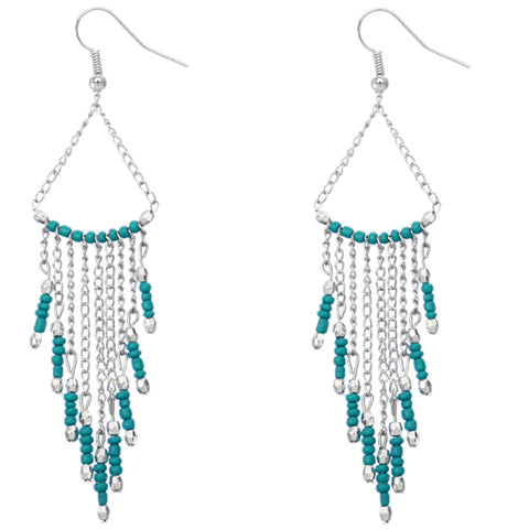 Teal Long Beaded Dangle Earrings