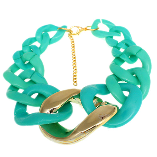 Teal Graduated Adjustable Chain Link Bracelet