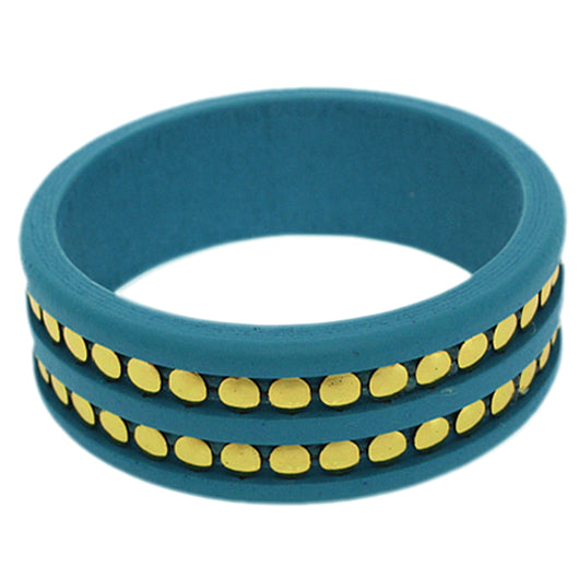 Light Blue Wooden Stud Bangle Bracelet