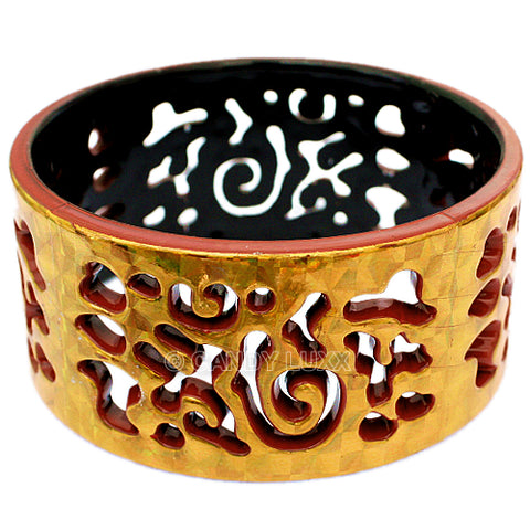 Terracotta Gold Cutout Chinese Textured Bangle Bracelet