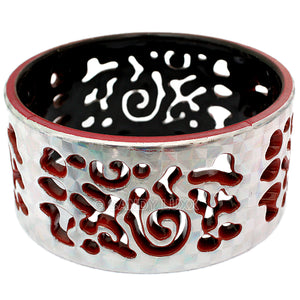 Terracotta Silver Cutout Chinese Textured Bangle Bracelet