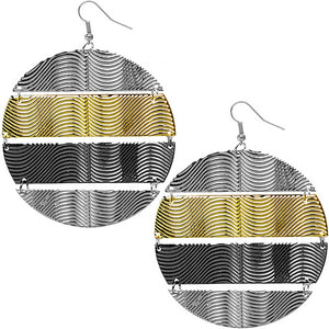 Tri-color Hammered Connect Metal Earrings