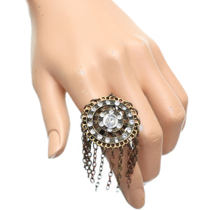 Gold Spinning Wheel Rhinestone Adjustable Chain Ring