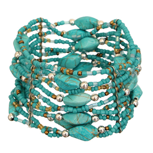 Turquoise Beaded Sequin Stretch Bracelet