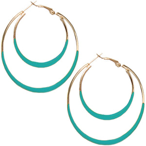 Turquoise Double Layered Hoop Earrings